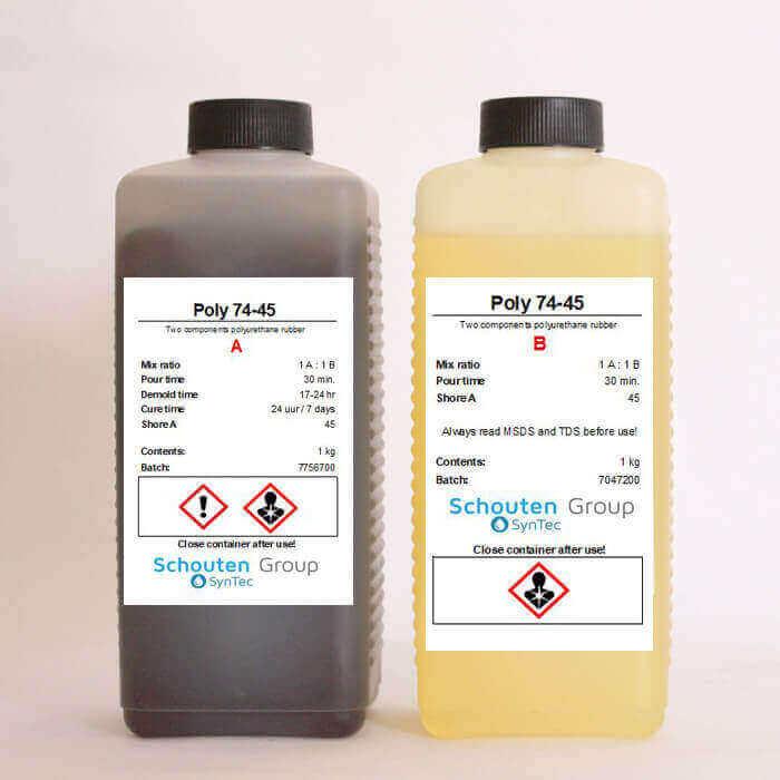 Polyurethane liquid casting rubber Shore A 45 (Poly 74-45